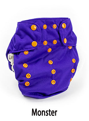 monster purple all in one cloth diaper