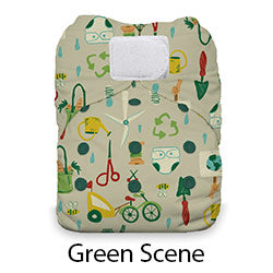 Natural One Size AIO Hook and Loop Green Scene