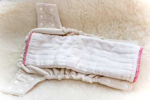 pad fold prefold diaper in wool cover