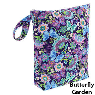 Blueberry diaper wet bag butterfly garden print