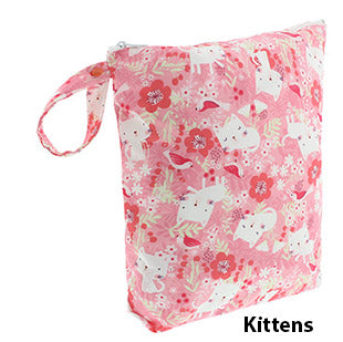 Blueberry diaper wet bag pink kittens