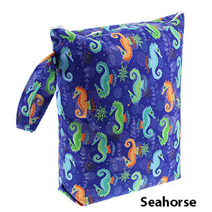 Blueberry diaper wet bag seahorses