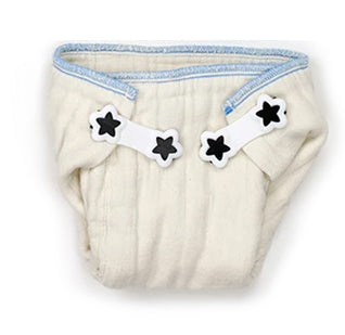 Two Boingo fasteners on a prefold diaper