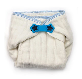 Boingo diaper fastener on a prefold cloth diaper