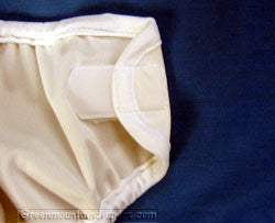 hook and loop on a diaper cover closed