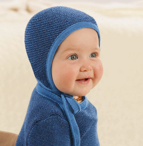 blue disana wool sweater on baby