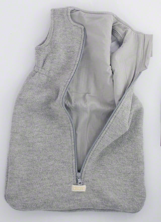 disana boiled wool sleepsack for baby unzipped in grey