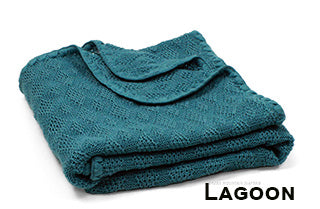 Disana knit wool blanket lagoon blue