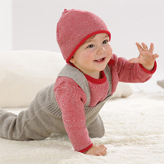 grey disana wool overalls trousers on a baby
