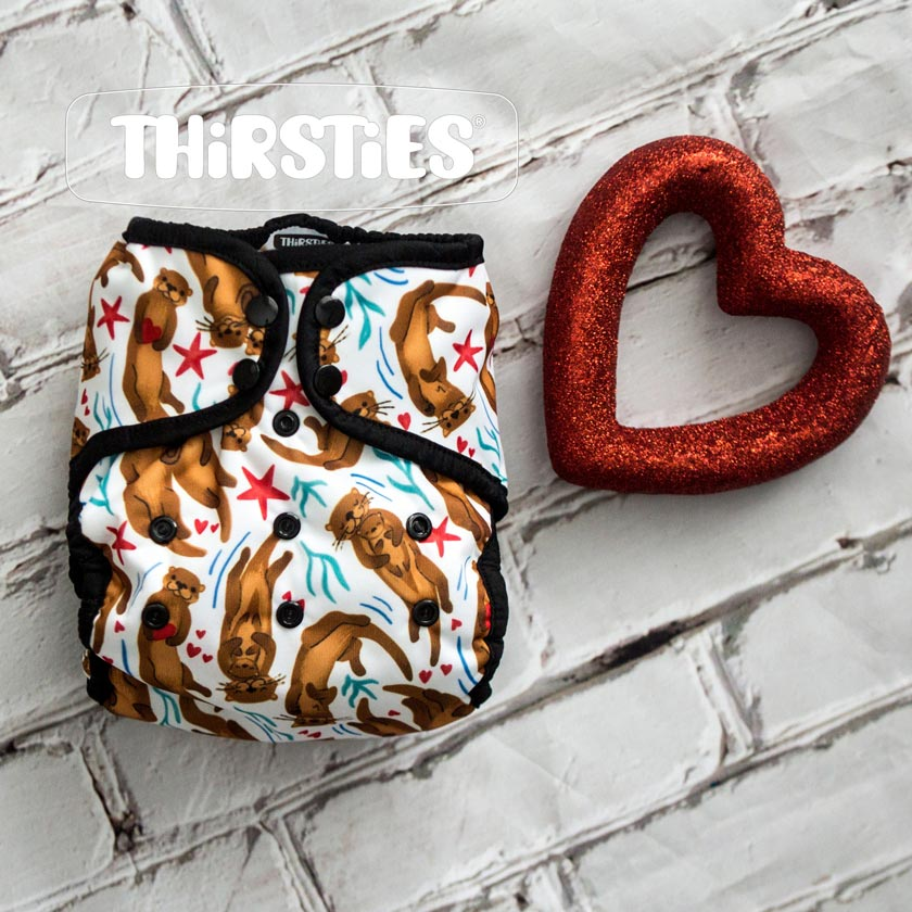 Thirsties otterly in love cloth diaper valentines day print