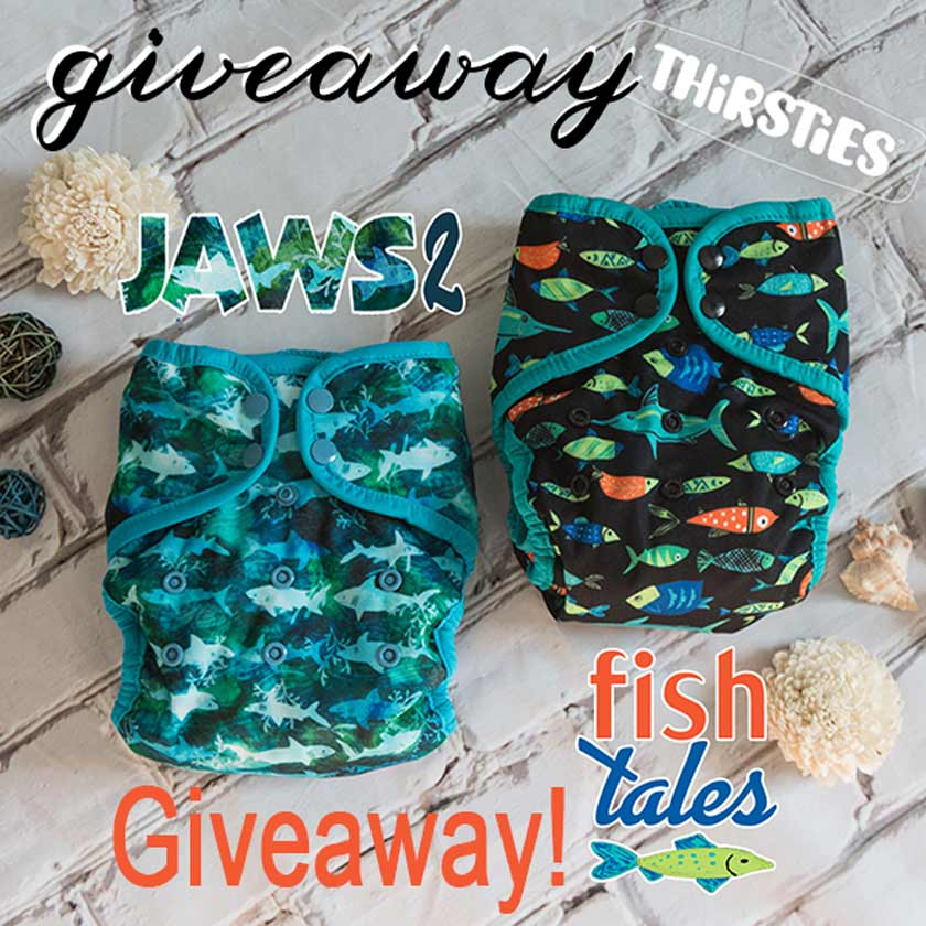 Thirsties cloth diaper giveaway jaws fish tales new prints