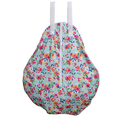 aqua floral hanging diaper wet bag