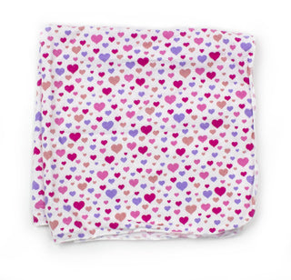 pink hearts receiving blanket