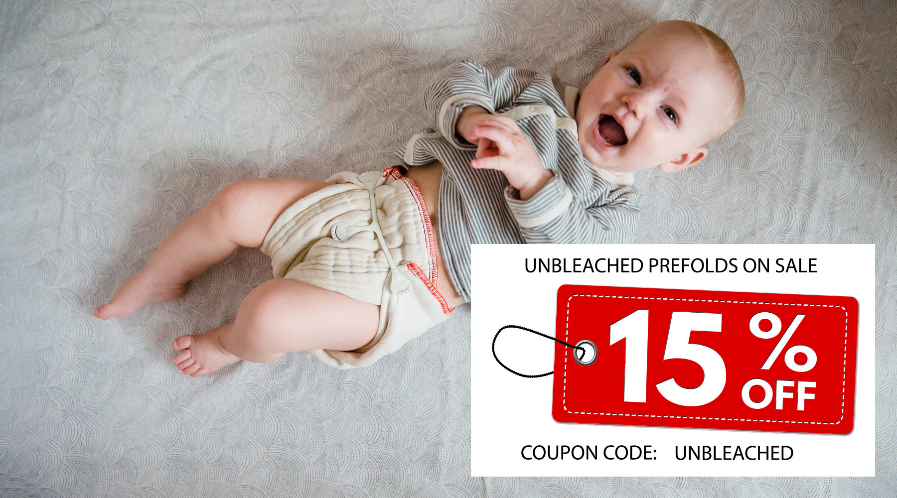cloth diaper on baby unbleached prefolds on sale