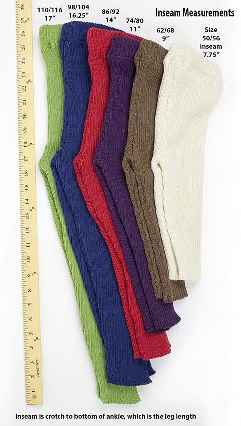 disana leggings size chart