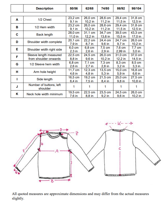 disana wool sweater measurements