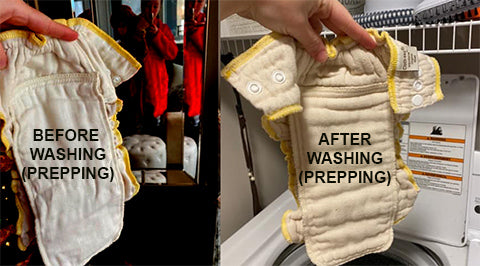 Workhorse diaper before and after prepping