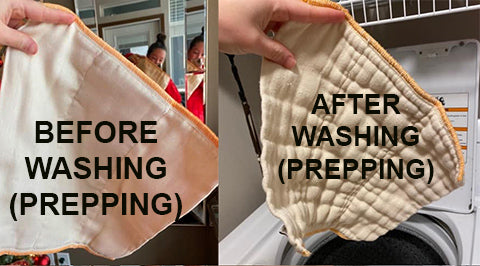 before and after washing prepping prefold cloth diaper