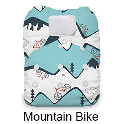 Mountain bike print Thirsties natural AIO hook and loop diaper