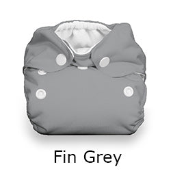 Thirsties Natural Newborn all in one fin grey