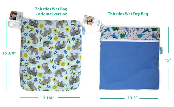 Thirsties original wet bag compared to wet dry bag