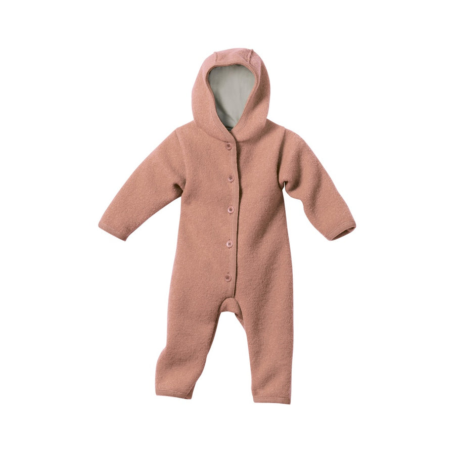 Disana boiled wool romper with hood hazelnut