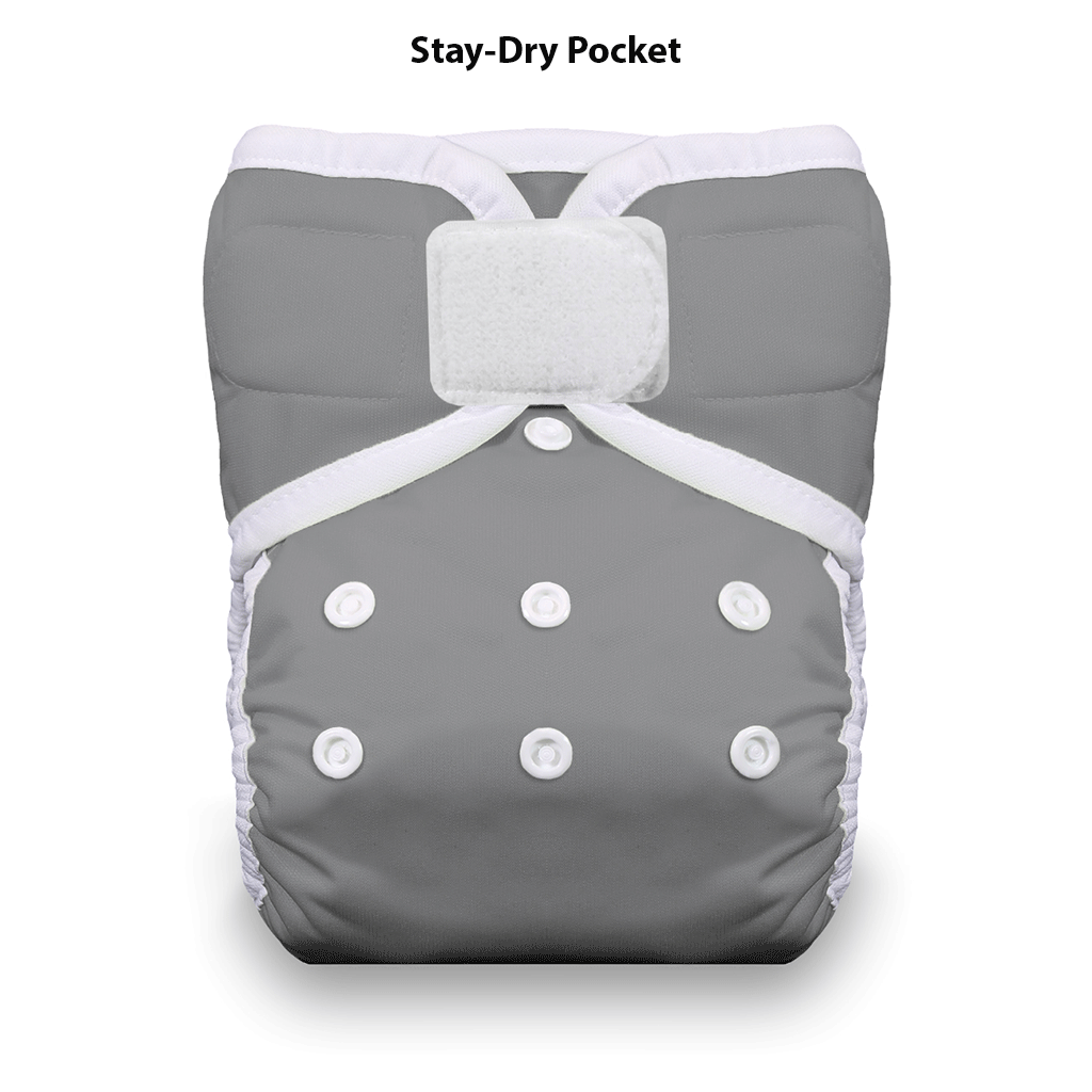 Thirsties Pocket Diaper Hook and Loop Fin Grey