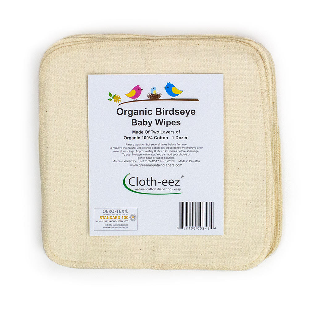 Cloth-eez organic birdseye baby wipes washcloths