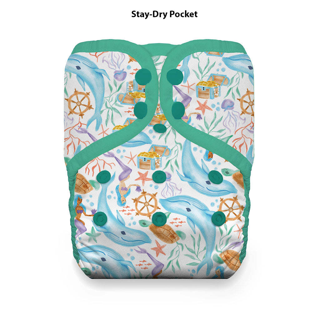 Pocket Diaper Snaps Stay Dry Mermaid Lagoon
