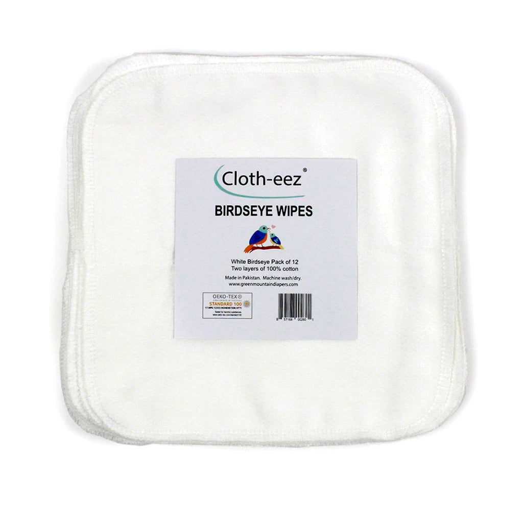 Cloth-eez white birdseye baby wipes