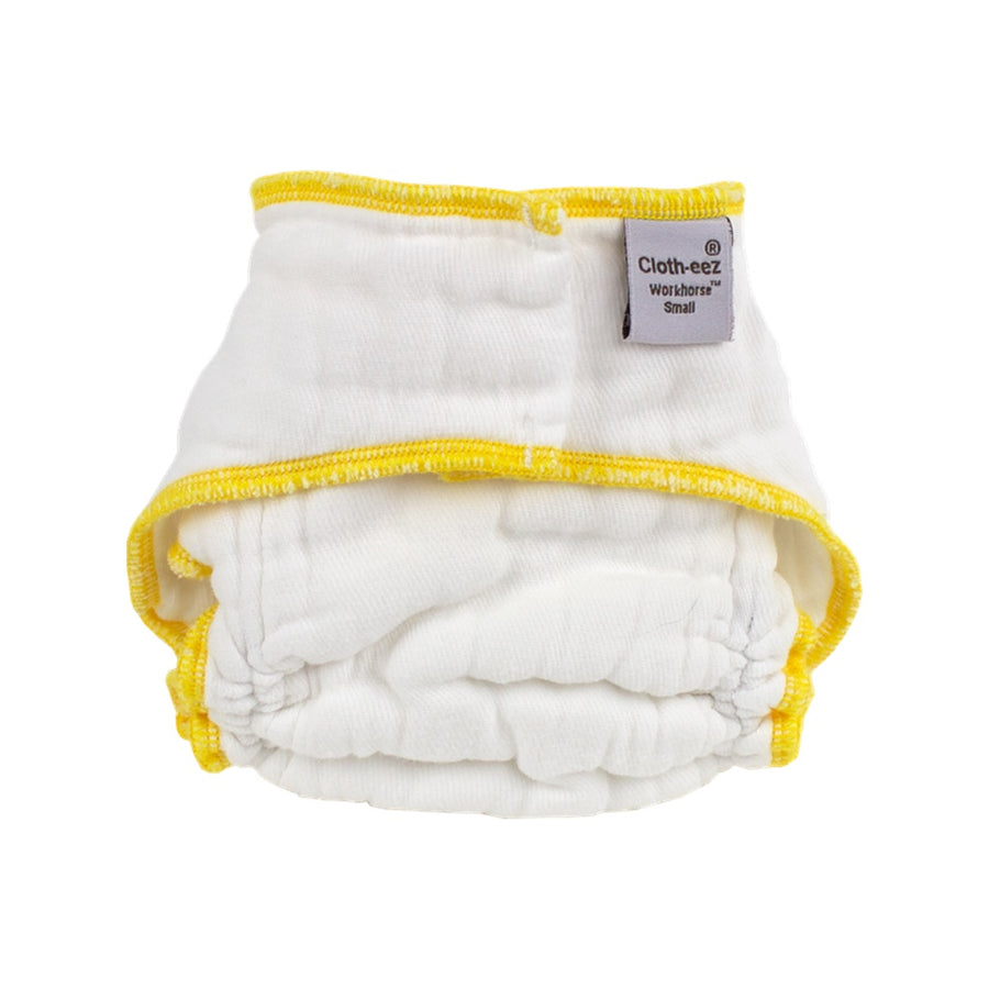 Cloth-eez Workhorse White Fitted Diapers - No Closure