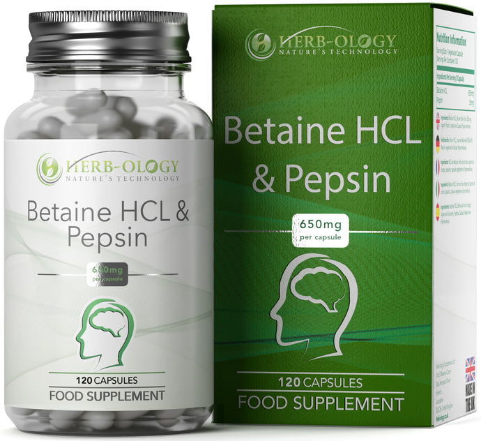 Betaine HCL Pepsin Capsules Vegan Supplement 650mg x 120-360 Capsules Herb-ology