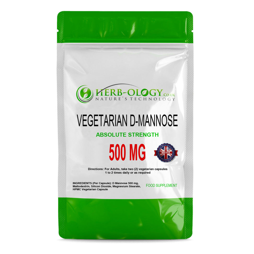 D Mannose Capsules 500mg Capsules Vegetarian Friendly Herb-ology D-Mannose