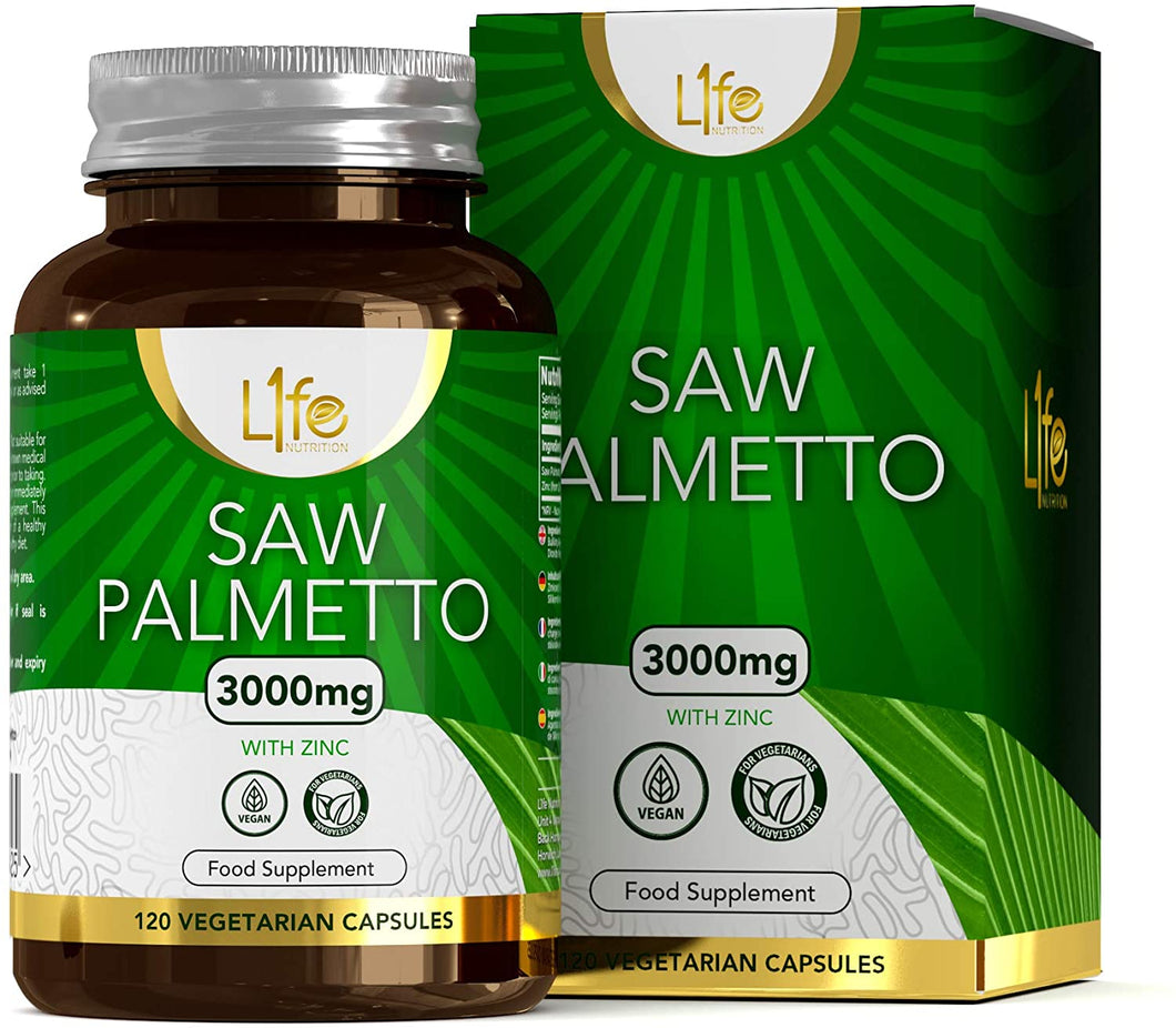 Saw Palmetto Capsules For Men & Women 3000mg Extract + Zinc Vegan/Veg Friendly