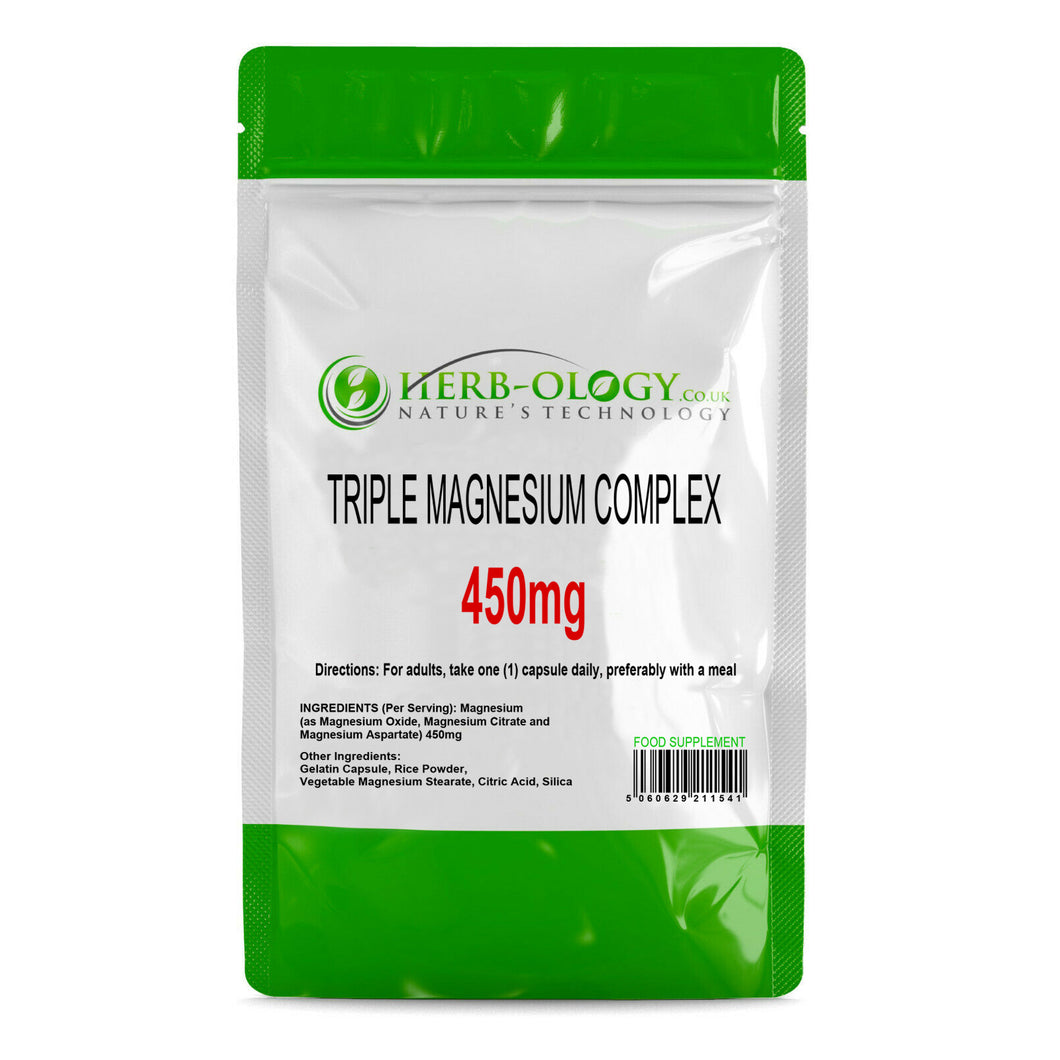 Triple Magnesium Complex Tablets 450mg Capsules Supplement Herb-ology
