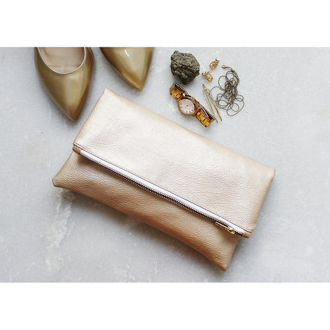 Metallic Champagne Vegan Leather Clutch