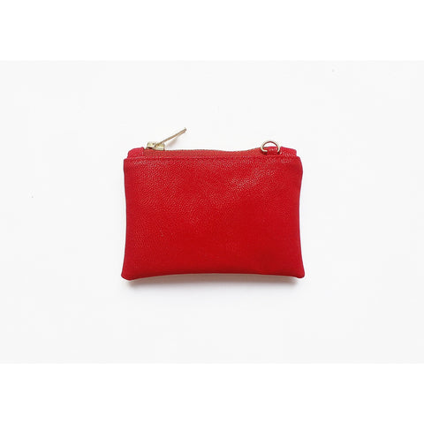 RED VEGAN SUEDE COIN PURSE