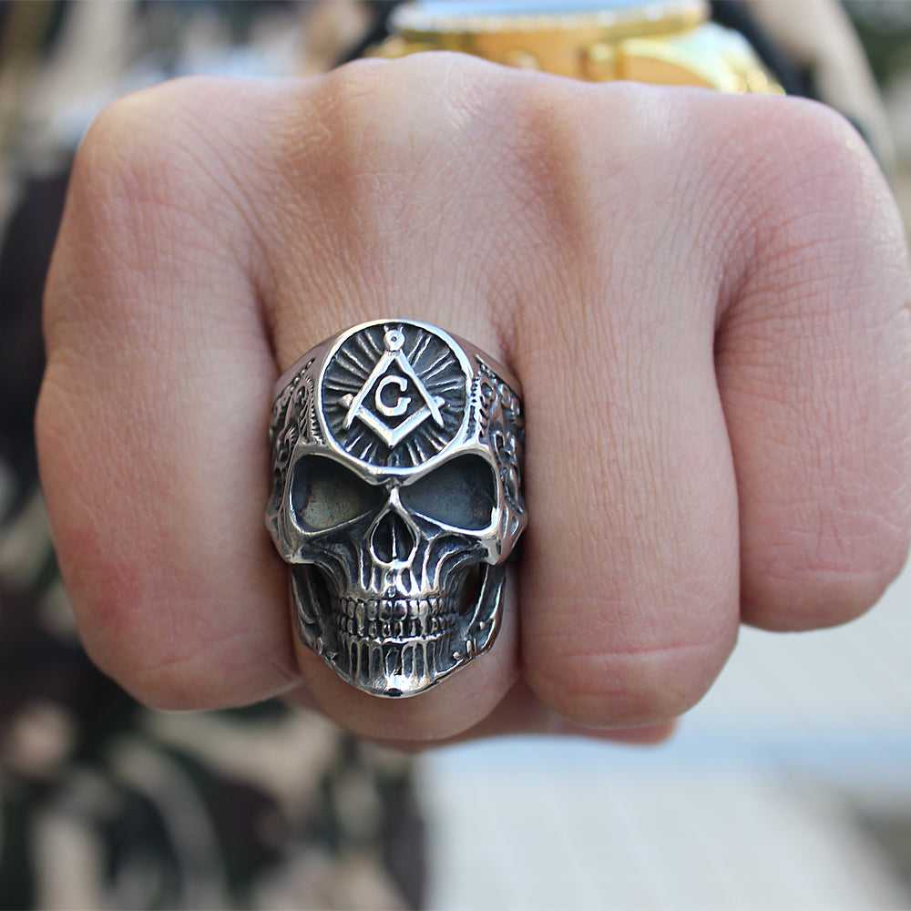 """The Master Man"" Masonic Skull Ring"