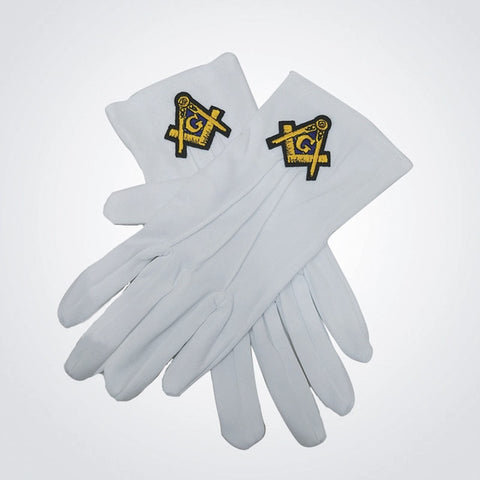 Hand-Embroidered Masonic White Gloves