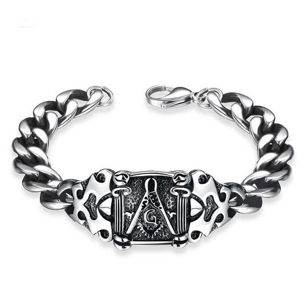 Vintage Masonic Find Bracelet With Cuban Link Chain white