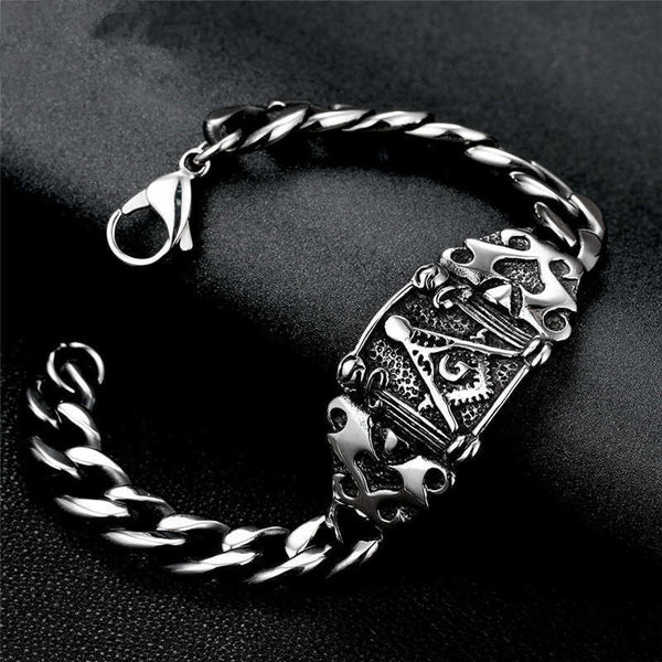 Vintage Masonic Find Bracelet With Cuban Link Chain