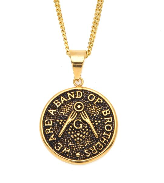 """Band of Brothers"" Masonic Pendant + Chain"