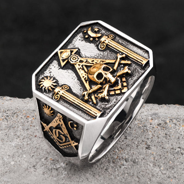 Symbolic Masonic Skull Ring