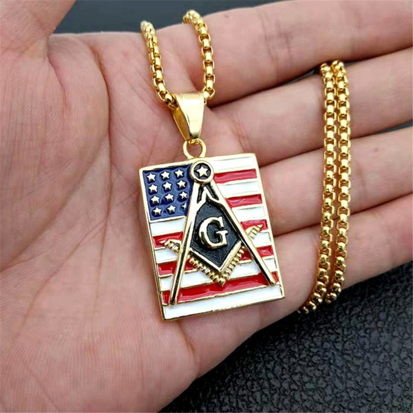 Square Masonic American Flag Dog Tag Pendant