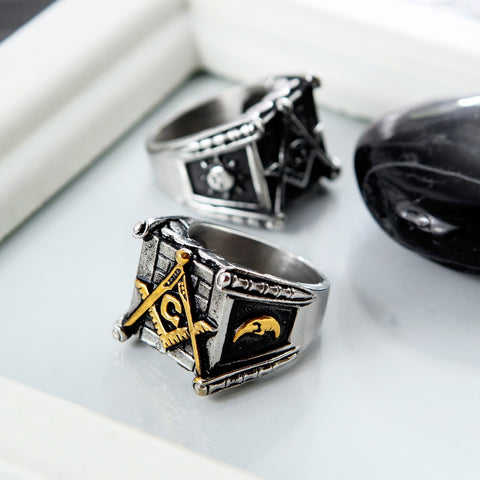 Sun & Moon Masonic Ring (Gold/Silver)