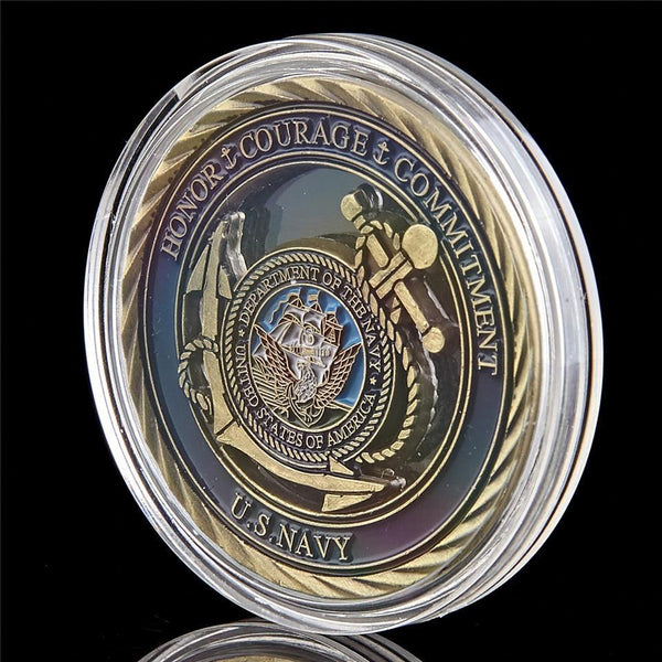 US Navy Emblem Core Military Commitment Coin in protective case