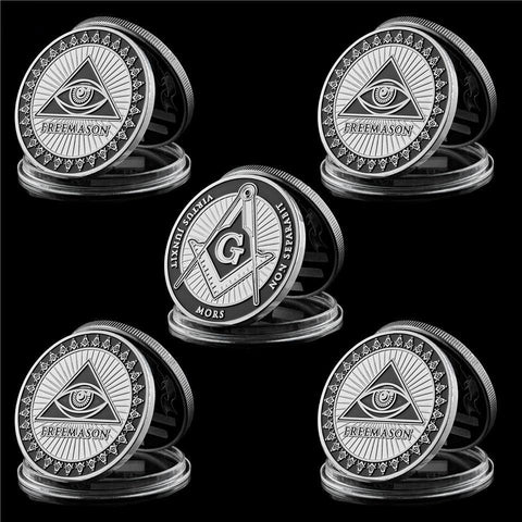 5 Piece Silver Toned Masonic World Coin (Clearance Sale)