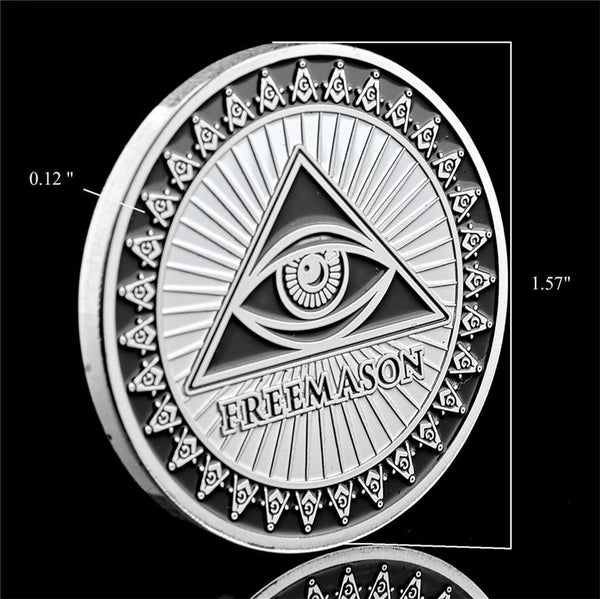 freemasons silver coin