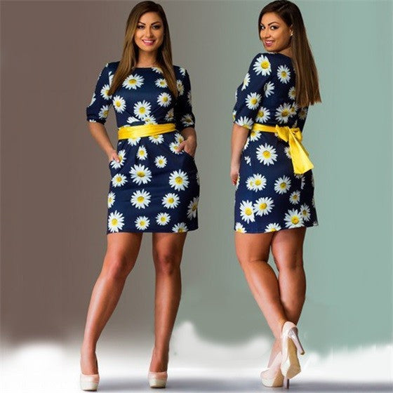 Sun Flower Knee-Length Dress - K&M ONE STOP SHOP