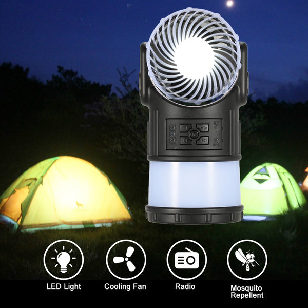 Multi-Function Portable Lantern With Cooling Fan Radio Mosquito Repellent